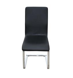 Kėdė Y082-BL su juodu dirbtinės odos apmušalu ir chromuotomis kojomis