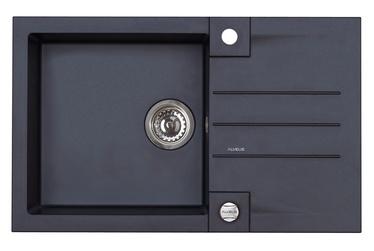 Virtuvės plautuvė Alveus Rock 130 91,su sifonu, juoda, 78x48 cm