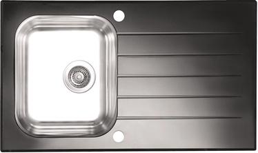 Virtuvės plautuvė Alveus Glassix 10, su sifonu, juoda, 86x50x18 cm