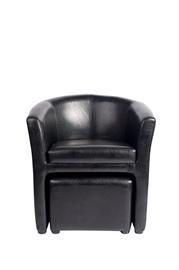 Juodas fotelis 7005 su pufu