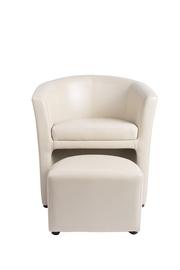 Kremo spalvos fotelis 7005 su pufu