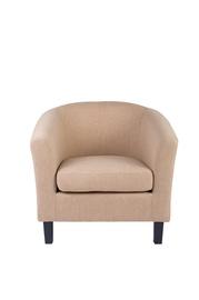 Kremo spalvos fotelis HY-9030 su juodomis kojomis