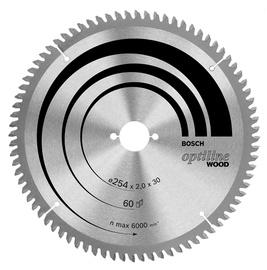 Zāģripa kokam Bosch Optiline Wood 254x30mm, 60 zobi