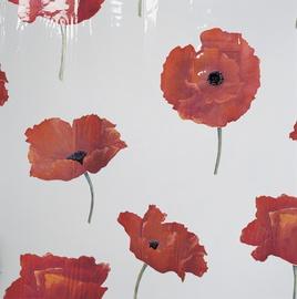 Dušas aizkars Spirella Poppy 180x200cm, balts/sarkans