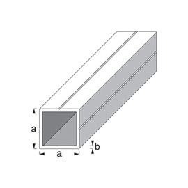 Kvadrātveida caurule 23,5x23,5mm, 1m