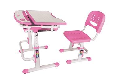 Reguliuojamo aukščio stalas ir kėdė vaikams, rožinis