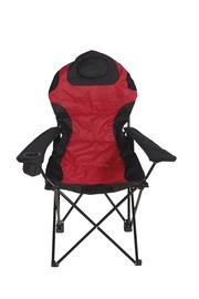 Salokāms piknika krēsls ar roku balstiem, melns/sarkans