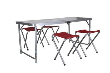 Salokāms kempinga galds ar 4 krēsliem Lisa