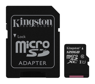 Atminties kortelė Kingston microSDXC CL10 + adapteris, 128GB