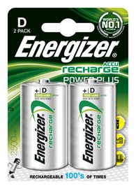 Baterijas Energizer Recharge Power Plus D, 1,2V, 2500mAh, 2gab.