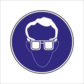 """Uzlīme """"Jālieto aizsargbrilles"""" Ø15cm"""