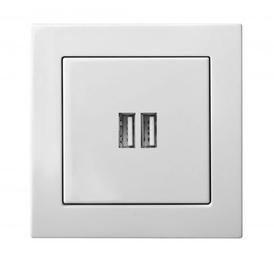 USB-laadija/pesa Epsilon 3.4A, 2 pesaga valge