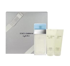 Rinkinys Dolce & Gabbana Light Blue: tualetinis vanduo EDT 100ml + 100ml kūno kremas + 100ml dušo žėlė, moterims