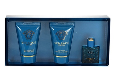 Rinkinys Versace Eros: tualetinis vanduo EDT 5ml + 25ml dušo žėlė + 25ml balzamas po skutimosi, vyrams