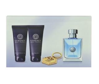 Rinkinys Versace Pour Homme: tualetinis vanduo EDT 100ml + 100ml balzamas po skutimosi + 100ml dušo žėlėl + raktų pakabukas, vyrams