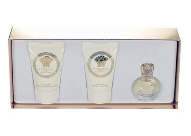 Rinkinys Versace Eros Pour Femme: parfumuotas vanduo EDP 5ml + 25ml dušo želė + 25ml kūno pienelis, moterims