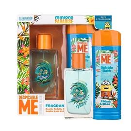 Rinkinys Minions Minions Paradise: tualetinis vanduo EDT 75 ml + vonios putos 250 ml, vaikams