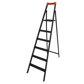 Buitinės kopėčios, H105, 6 pakopų, cinkuotos, juodos