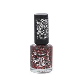 Blizgus nagų lako viršutinis sluoksnis Rimmel Glitter Bomb, 020 Midnight Mistletoe, 8ml, moterims