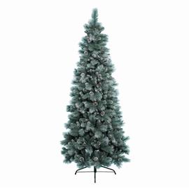 Kalėdinė eglutė Šerkšnas su kankorėžiais, balta, 180 cm aukščio