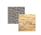 Akmens ir plytų formos plytelės