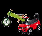 Vaikiškos mašinėlės, motociklai ir paspirtukai
