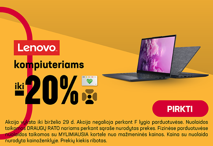 Lenovo kompiuteriams iki -20%