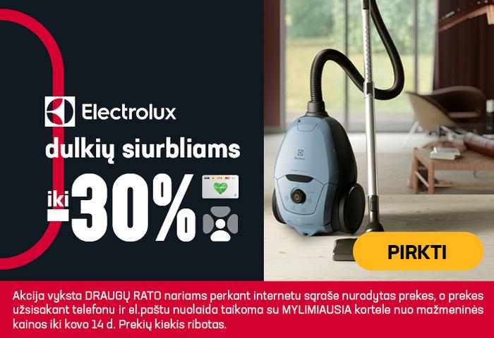 Electrolux dulkių siurbliams iki -30%