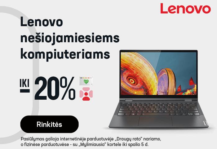 Lenovo nešiojamiesiems kompiuteriams iki -20 %