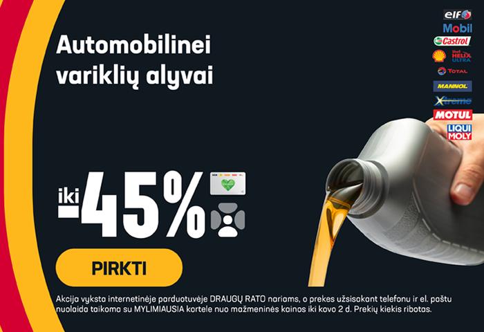 Automobilinei variklių alyvai iki -45 %