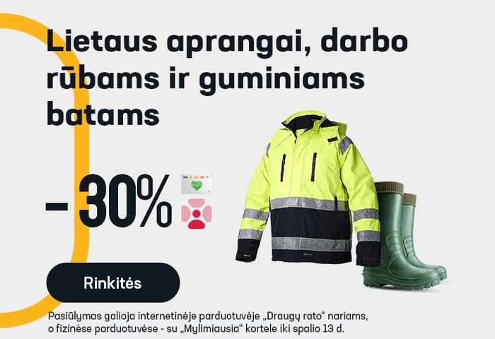 Lietaus aprangai, darbo rūbams ir guminiams batams -30 %
