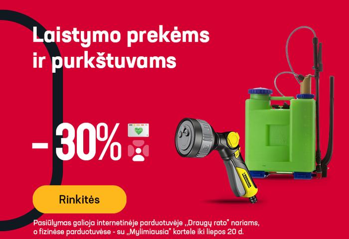 Laistymo prekėms ir purkštuvams -30 %