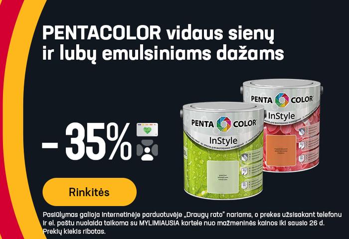 PENTACOLOR vidaus sienų ir lubų emulsiniams dažams -35%