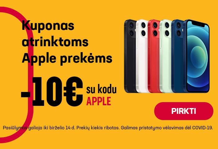 10 € kuponas atrinktoms Apple prekėms