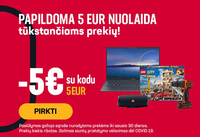 Papildoma 5 eur nuolaida tūkstančiams prekių!