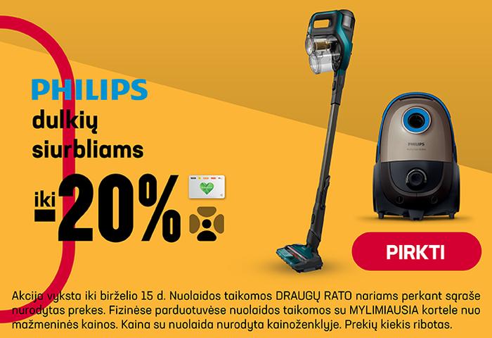 Philips dulkių siurbliams iki -20%
