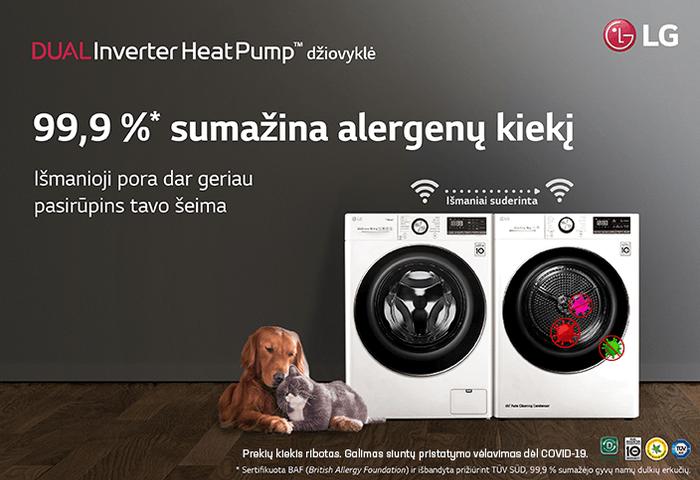 LG Dual Inverter šilumos siurblių džiovintuvas 99,9% sumažina alergenų kiekį
