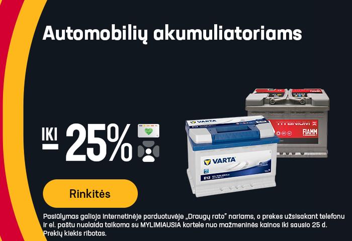 Automobilių akumuliatoriams iki -25%