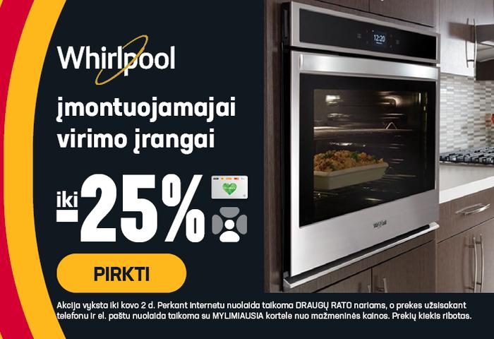 Whirlpool įmontuojamajai virimo technikai iki -25 %