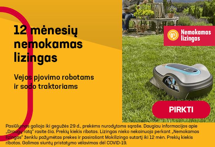 Vejos pjovimo robotams ir sodo traktoriams 12 mėnesių nemokamas lizingas