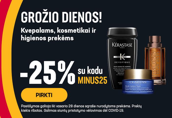 Grožio dienos! -25% kvepalams, kosmetikai ir higienos prekėms su kodu