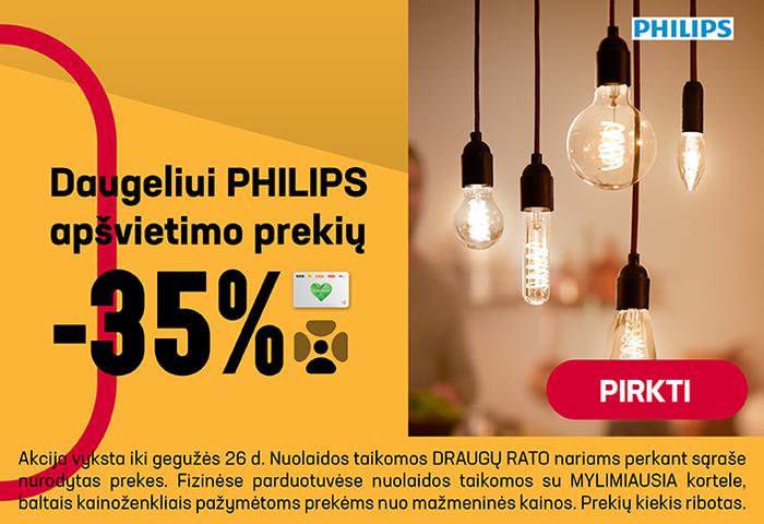 Daugeliui PHILIPS apšvietimo prekių –35%