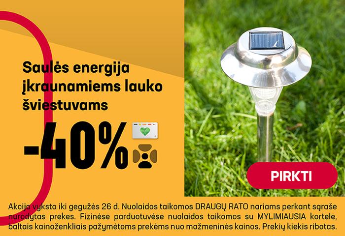 Saulės energija įkraunamiems lauko šviestuvams –40 %