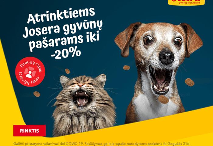 Atrinktiems Josera gyvūnų pašarams iki -20%
