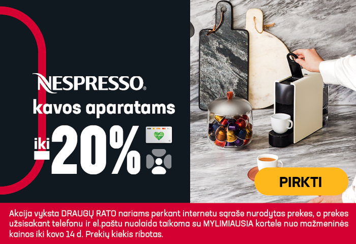 NESPRESSO kavos aparatams iki -20%