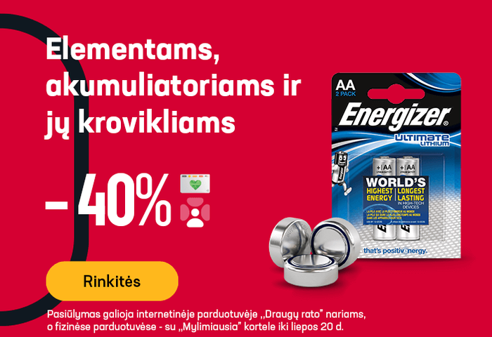 Elementams, akumuliatoriams ir jų krovikliams -40 %