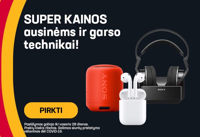 Super kainos ausinėms ir garso technikai