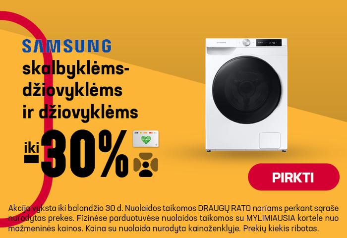 Samsung skabyklėms-džiovyklės ir džiovyklėms iki 30%