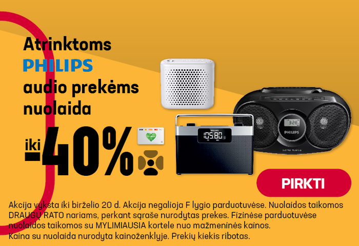 Atrinktoms PHILIPS audio prekėm nuolaida iki -40%