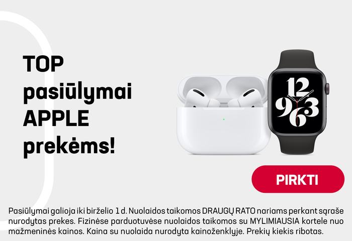 TOP pasiūlymai Apple prekėms